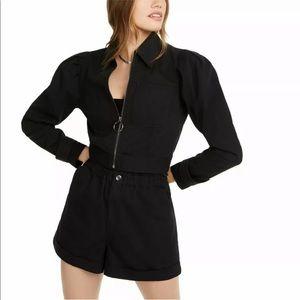 Danielle Bernstein Cropped Zip Black Jacket NWT